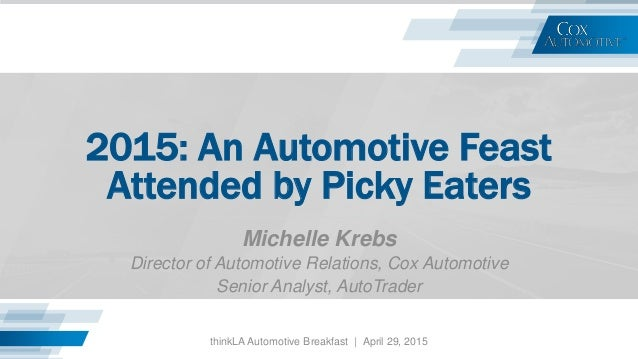 2015: An Automotive Feast Attended by Picky Eaters Michelle Krebs Director of Automotive Relations, Cox Automotive Senior ...