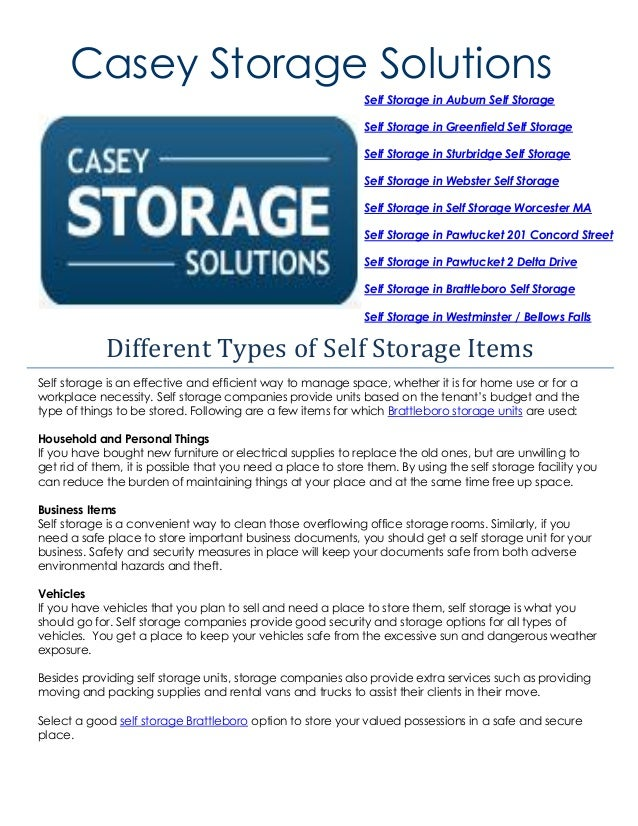 Casey Storage Solutions Self Storage Is An Effective And Efficient Way To  Manage Space, ...