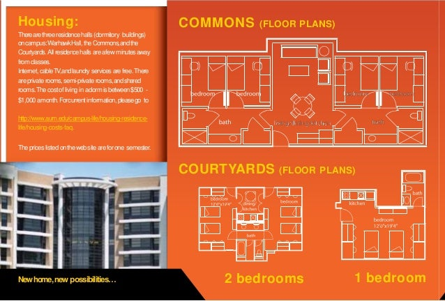 Housing: Newhome,new possibilities… COMMONS (FLOOR PLANS) 2 bedrooms 1 bedroom Therearethreeresidencehalls (dormitory buil...