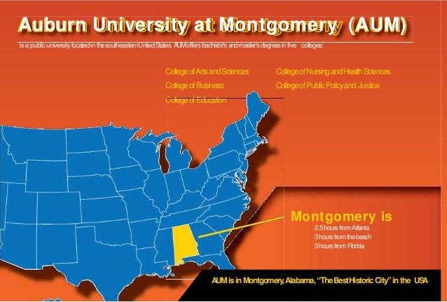 is a publicuniversity locatedin thesoutheasternUnitedStates.AUMoffersbachelor's andmaster'sdegreesin five colleges: Montgo...