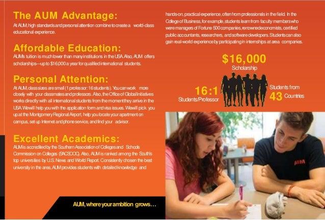 AUM,whereyourambition grows… The AUM Advantage: AtAUM,highstandardsandpersonalattentioncombinetocreatea world-class educat...