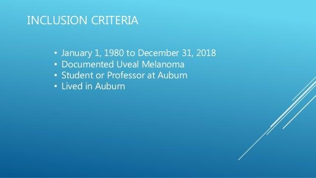 Auburn Uveal Melanoma Study - 2019 CURE OM Symposium Slide 2