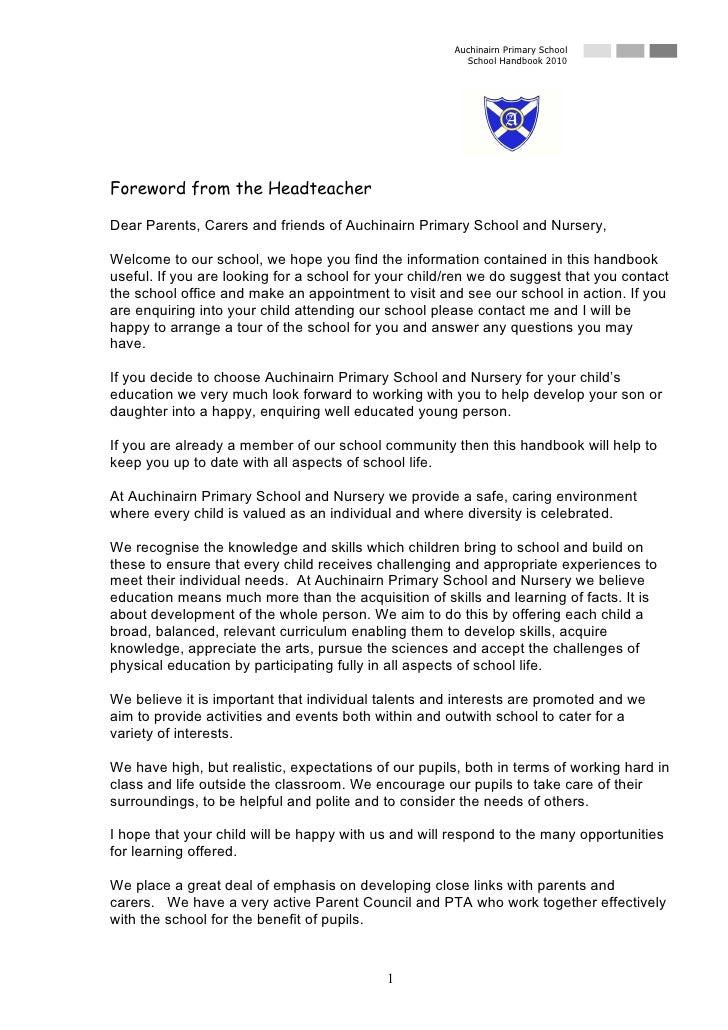 Auchinairn Primary School                                                         School Handbook 2010     Foreword from t...
