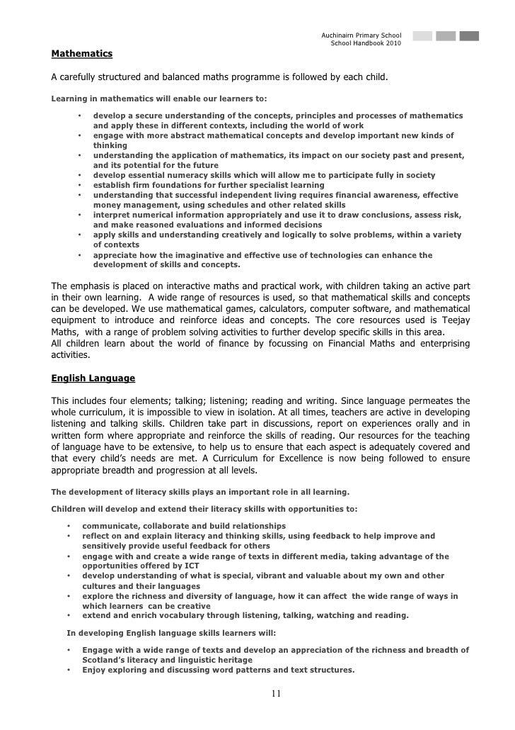 Auchinairn Primary School                                                                       School Handbook 2010 Mathe...