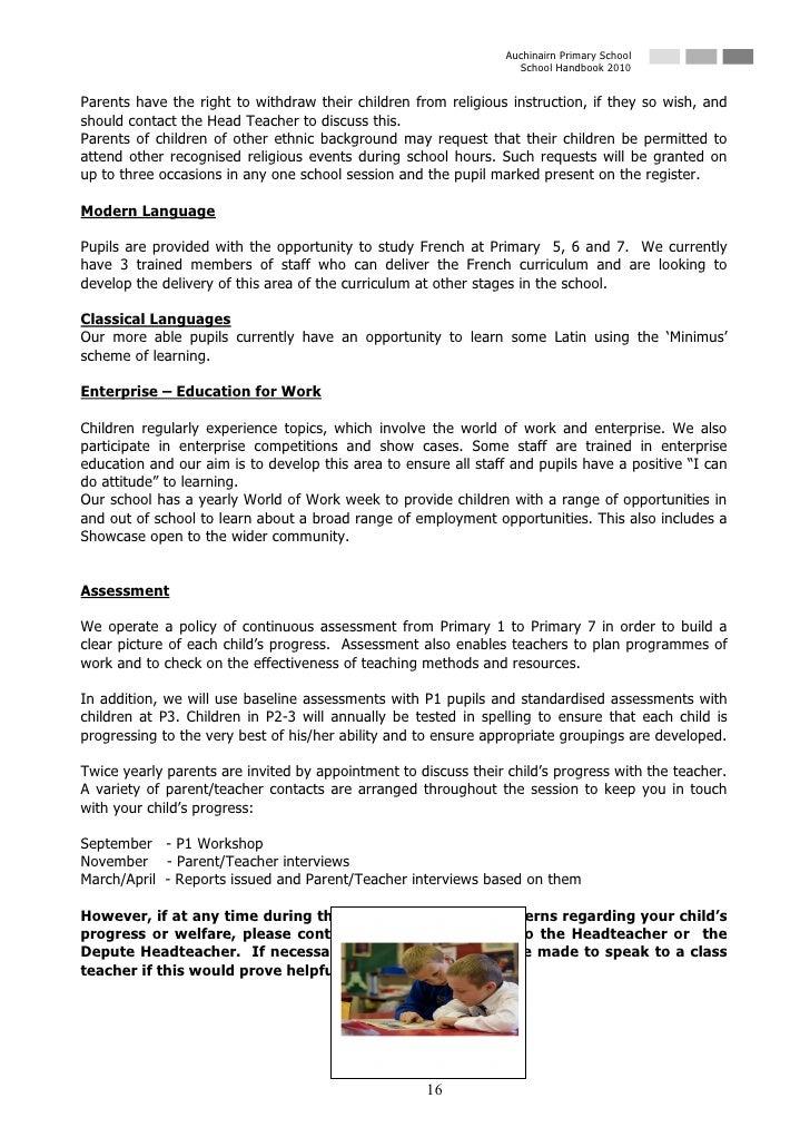Auchinairn Primary School                                                                    School Handbook 2010   Parent...