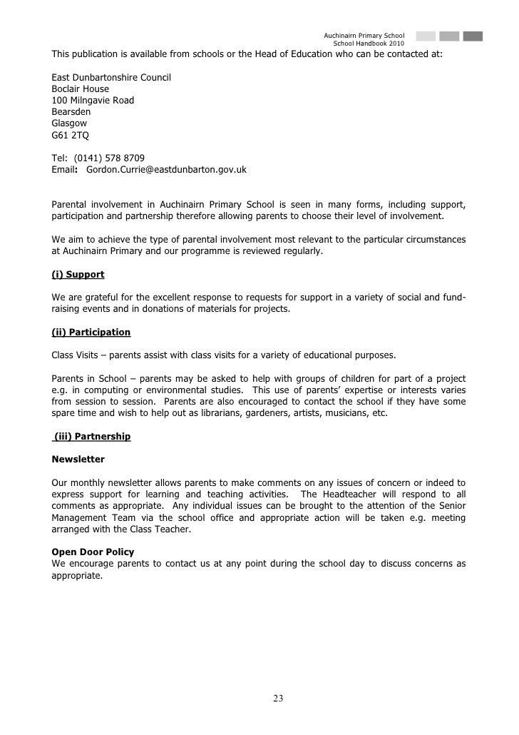 Auchinairn Primary School                                                                       School Handbook 2010 This ...