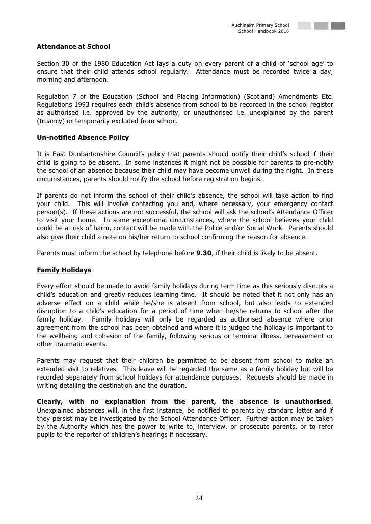 Auchinairn Primary School                                                                    School Handbook 2010   Attend...