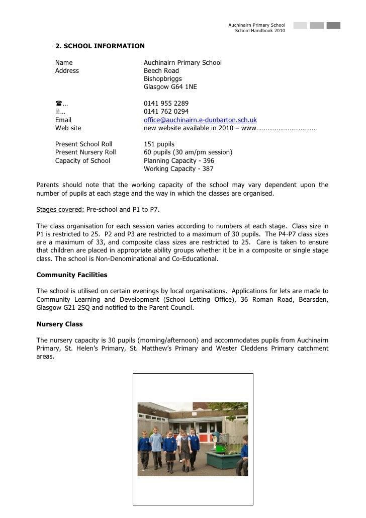 Auchinairn Primary School                                                                    School Handbook 2010         ...