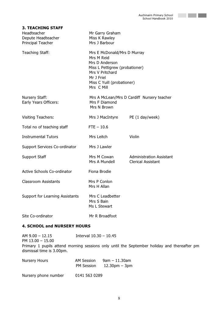 Auchinairn Primary School                                                                  School Handbook 2010   3. TEACH...