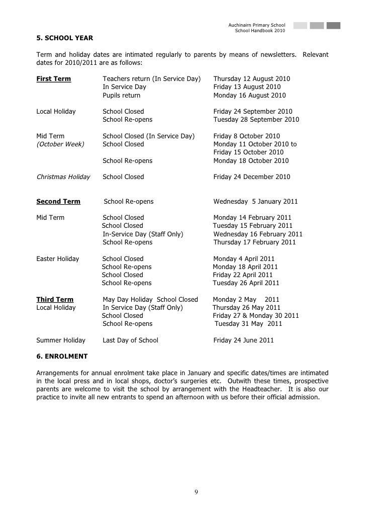 Auchinairn Primary School                                                                   School Handbook 2010 5. SCHOOL...