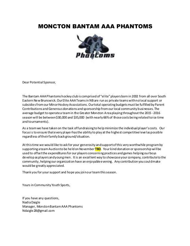 Auction Sponsorship Letter - Moncton Phantoms Bantams Aaa