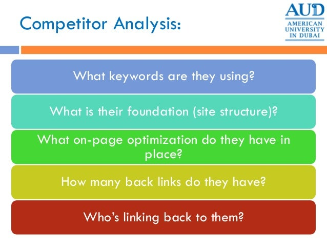Competitor Analysis: What keywords are they using? What is their foundation (site structure)? What on-page optimization do...