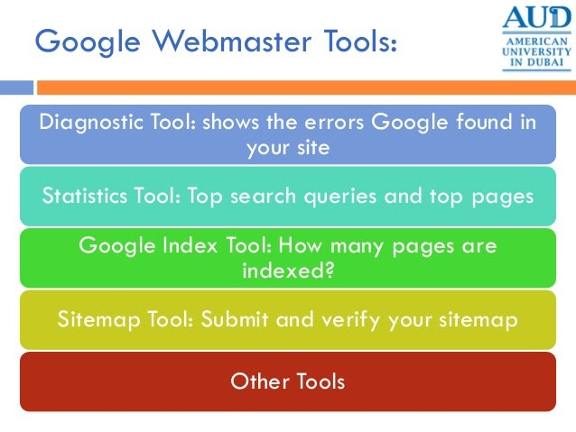 Google Webmaster Tools: Diagnostic Tool: shows the errors Google found in your site Statistics Tool: Top search queries an...