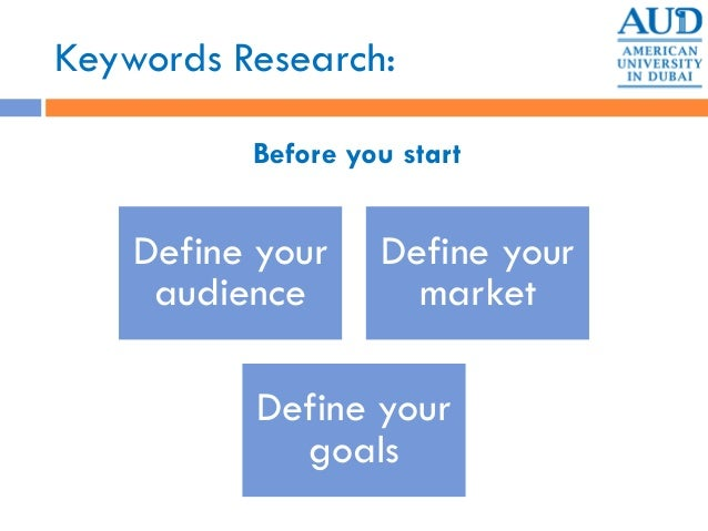 Keywords Research: Before you start Define your audience Define your market Define your goals