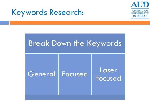 Keywords Research: Break Down the Keywords General Focused Laser Focused