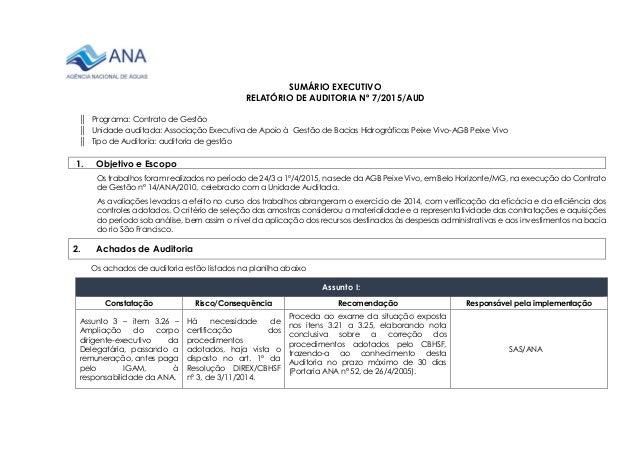 SUMÁRIO EXECUTIVO RELATÓRIO DE AUDITORIA Nº 7/2015/AUD ║ Programa: Contrato de Gestão ║ Unidade auditada: Associação Execu...