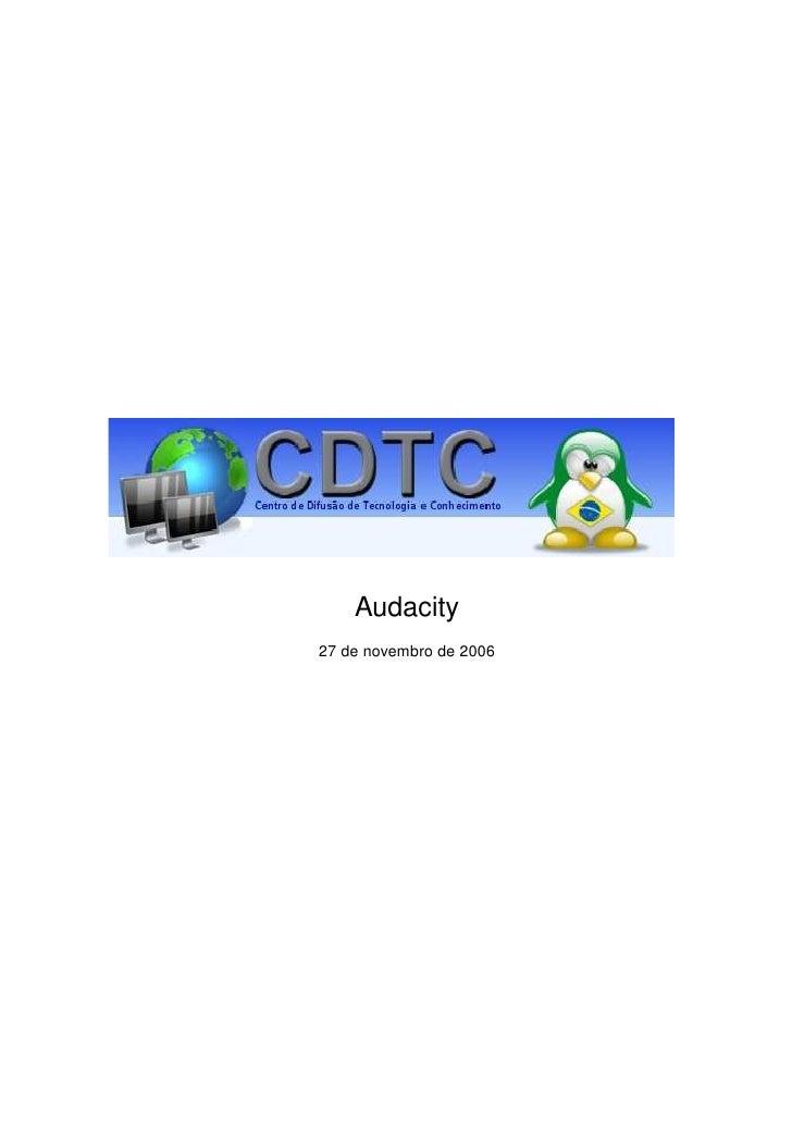 Audacity 27 de novembro de 2006