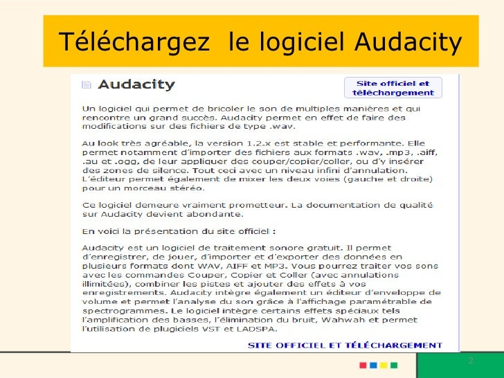 Téléchargez  le logiciel Audacity