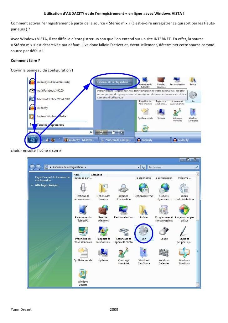 Utilisation d'AUDACITY et de l'enregistrement « en ligne »avec Windows VISTA !  Comment activer l'enregistrement à partir ...