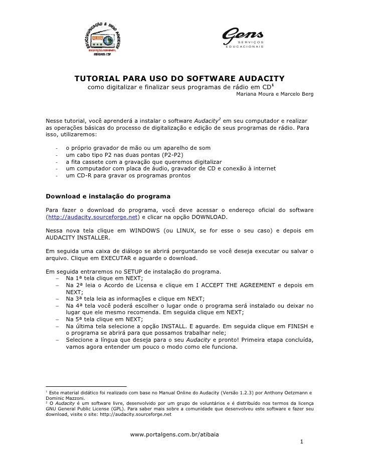TUTORIAL PARA USO DO SOFTWARE AUDACITY                  como digitalizar e finalizar seus programas de rádio em CD1       ...