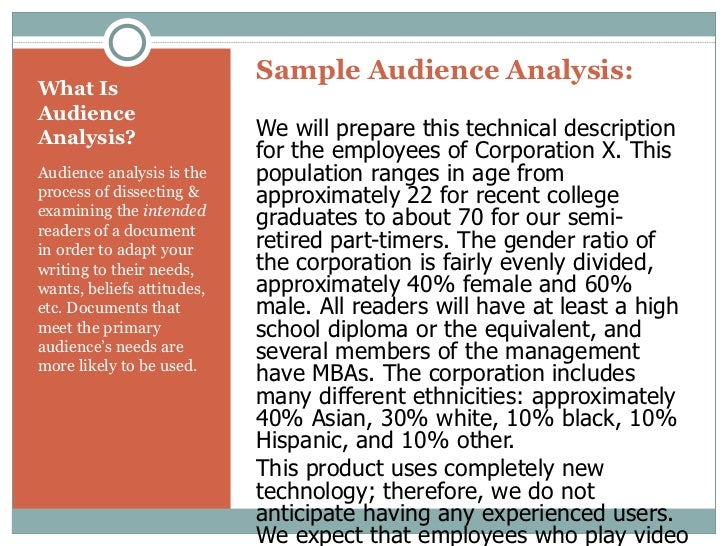 Writing audience analysis example