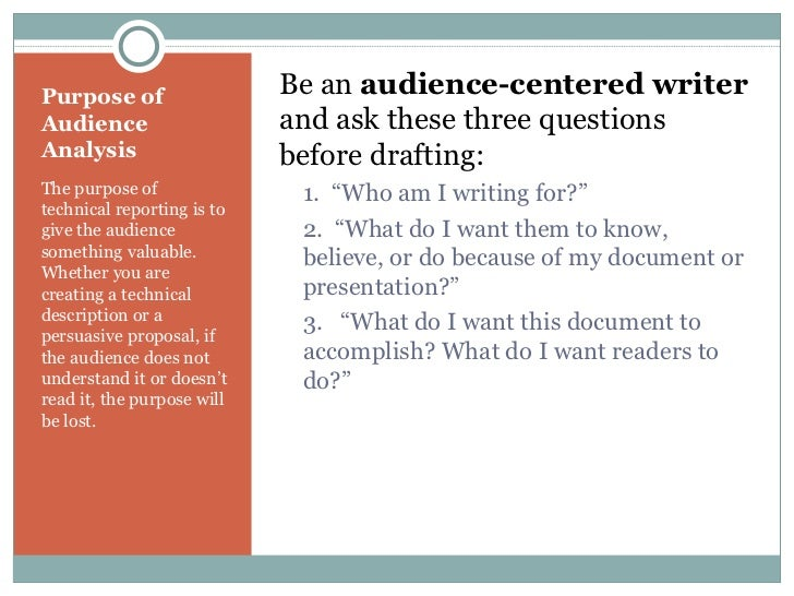 audience analysis paper 15 Ten audience analysis exercises 1 your job in your paper is convince a group of people to change their minds and person's topic for at least 15 minutes.