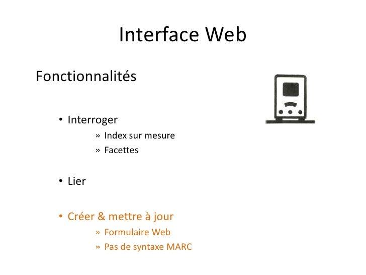 Interface Web Fonctionnalités     • Interroger             » Index sur mesure             » Facettes      • Lier     • Cré...
