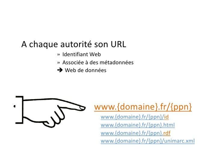 A chaque autorité son URL             » Identifiant Web             » Associée à des métadonnées              Web de donn...