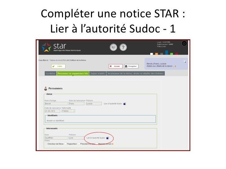 Compléter une notice STAR :  Lier à l'autorité Sudoc - 1