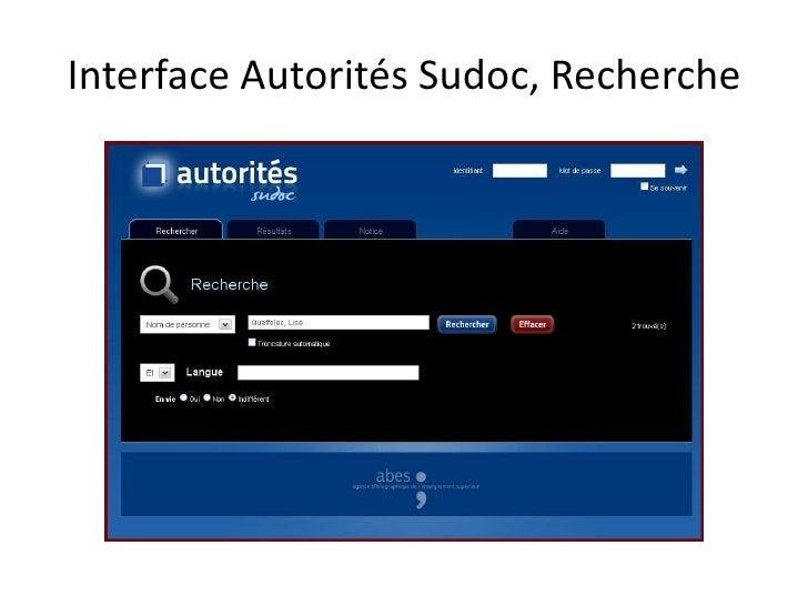 Interface Autorités Sudoc, Recherche
