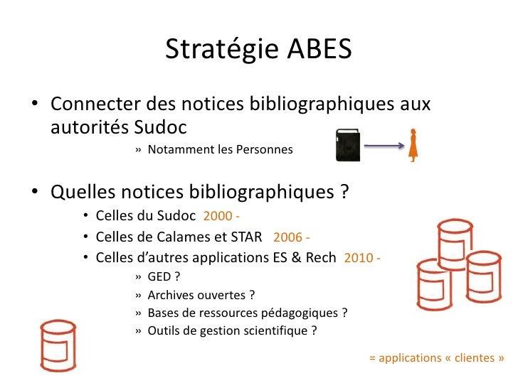 Stratégie ABES • Connecter des notices bibliographiques aux   autorités Sudoc              » Notamment les Personnes   • Q...