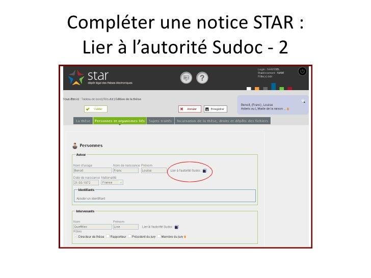 Compléter une notice STAR :  Lier à l'autorité Sudoc - 2