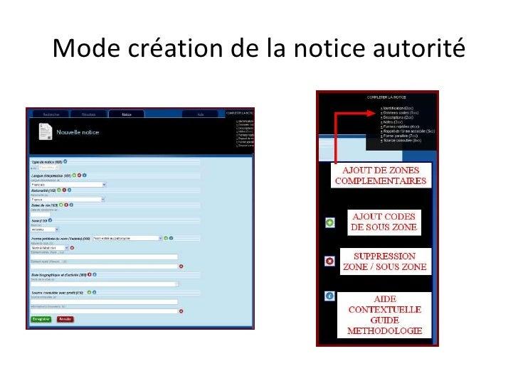 Mode création de la notice autorité