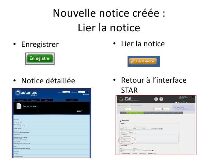 Nouvelle notice créée :                Lier la notice • Enregistrer          • Lier la notice    • Notice détaillée     • ...