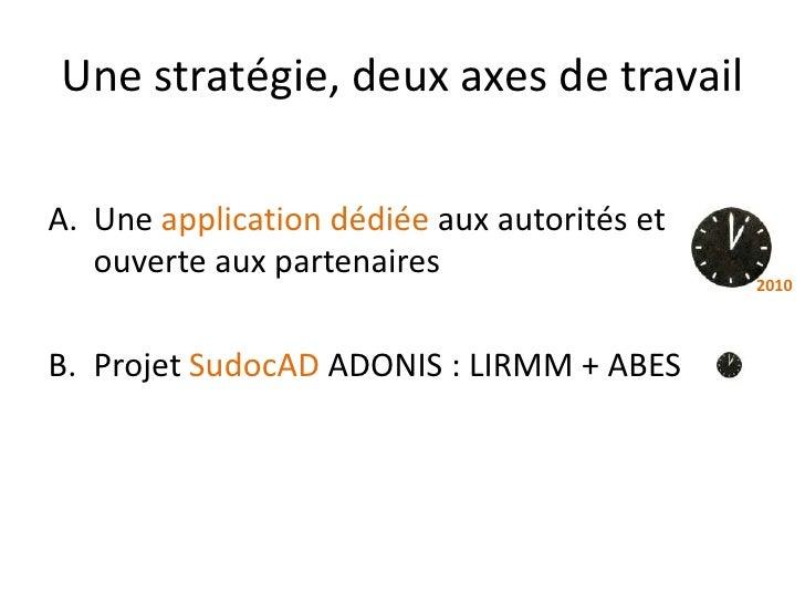 Une stratégie, deux axes de travail  A. Une application dédiée aux autorités et    ouverte aux partenaires                ...