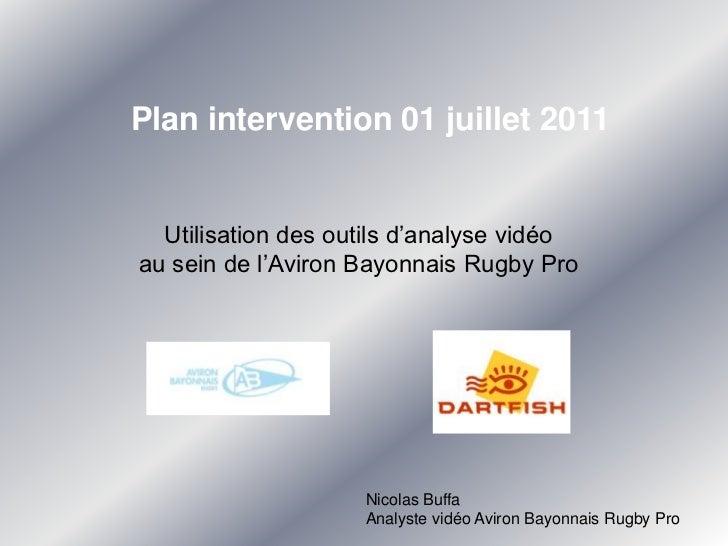 Plan intervention 01 juillet 2011<br />Utilisation des outils d'analyse vidéo <br />au sein de l'Aviron Bayonnais Rugby Pr...