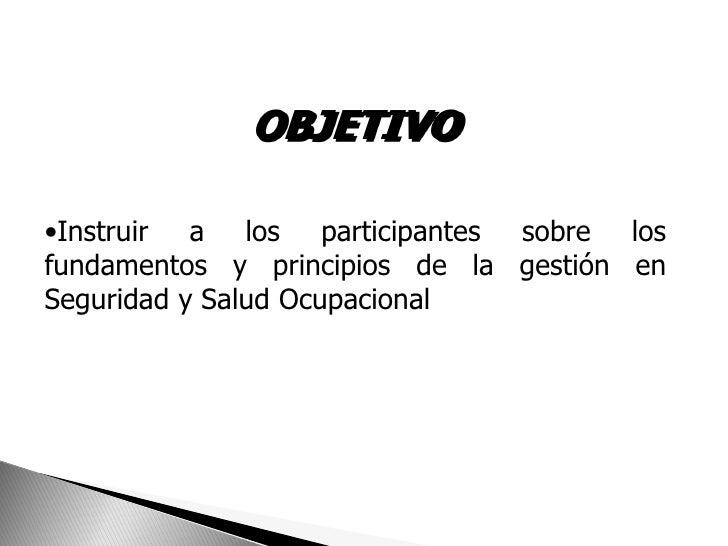 OBJETIVO•Instruir a los participantes sobre losfundamentos y principios de la gestión enSeguridad y Salud Ocupacional