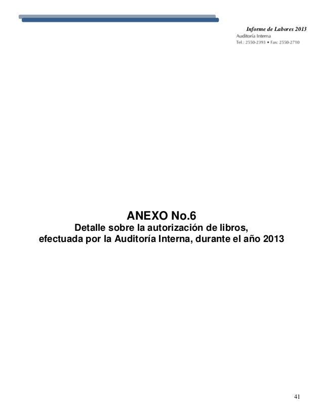 Informe De Labores De La Auditor 237 A Interna 2013