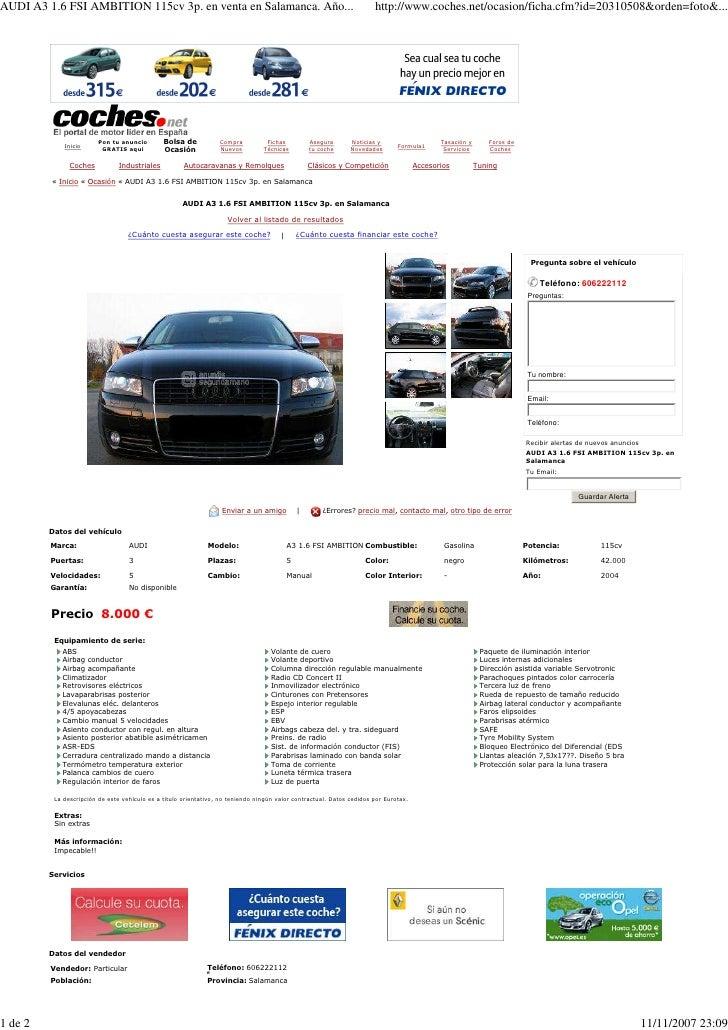 AUDI A3 1.6 FSI AMBITION 115cv 3p. en venta en Salamanca. Año...                                                       htt...