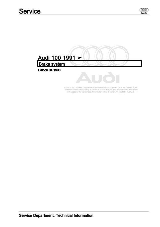 audi 100 dupa 1991 brake system rh slideshare net 1992 Audi 100 1991 Audi 100 Parts