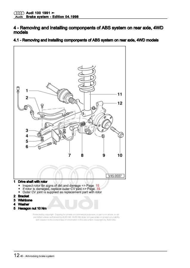 audi 100 dupa 1991 brake system rh slideshare net 1991 Audi 100 Parts 1970 Audi 100