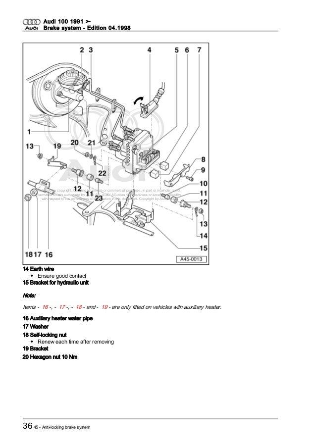 audi 100 dupa 1991 brake system rh slideshare net 1991 Audi 100 Quattro Used 1991 Audi 100 Quattro