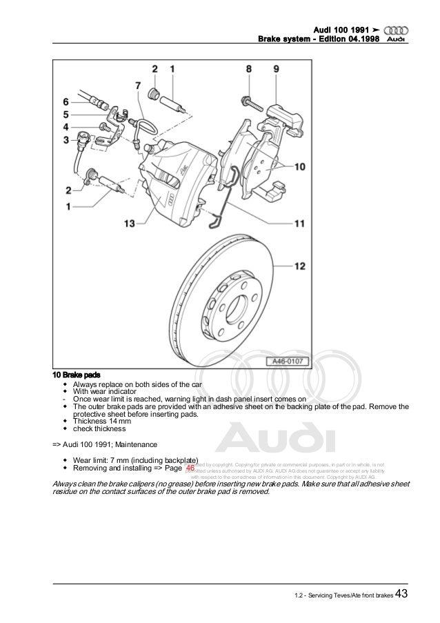 Audi 100 dupa 1991 brake system