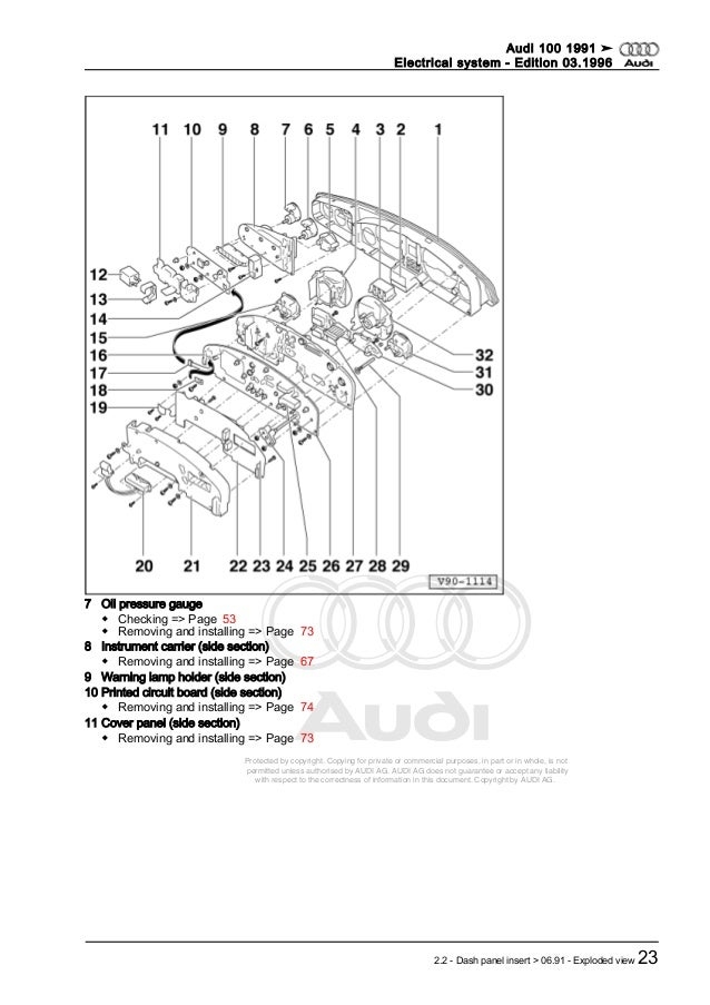 audi 100 1991 ➤ electrical system - edition 03 1996 2290 - gauges,  instruments