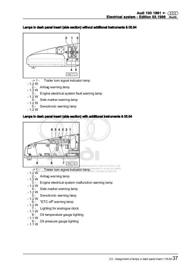 Audi 100 electrical system dupa 1991