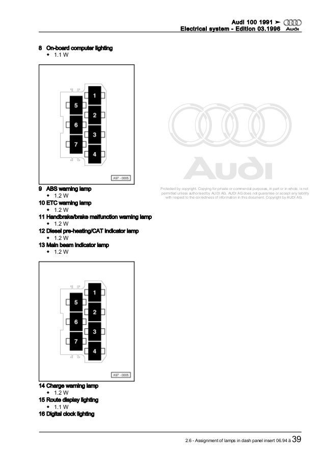 Audi 100 electrical system dupa 1991