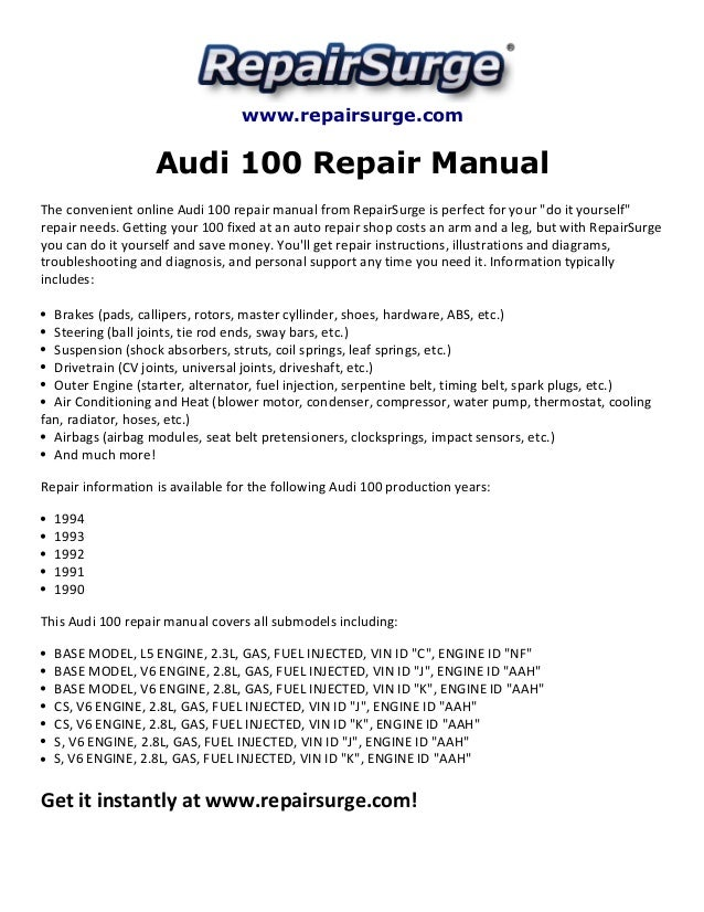 audi 100 repair manual 1990 1994 rh slideshare net 1990 Audi 100 1992 Audi 100s Sedan