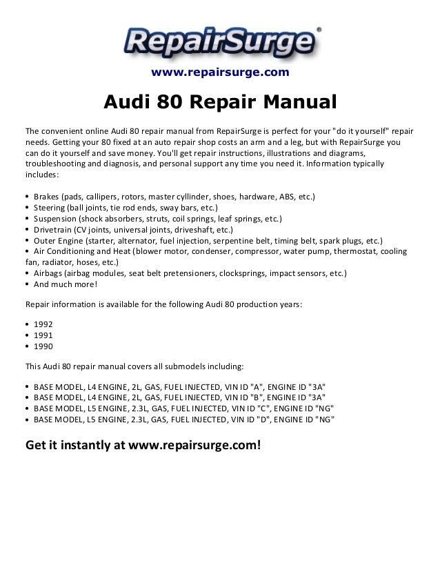 audi 80 repair manual 1990 1992 rh slideshare net Audi 80 B4 Audi 80 Interior