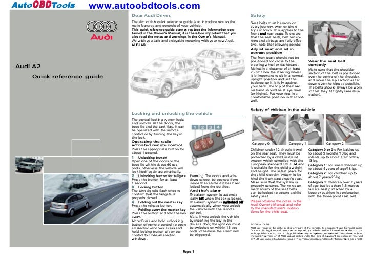 Audi A2 Quick Reference Guide Diagram User Manual