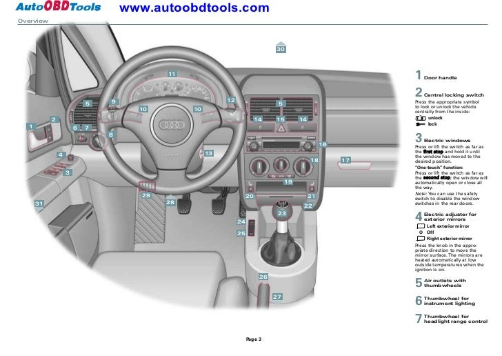 audi a2 quick reference guide diagram user manual rh slideshare net audi a2 user manual pdf audi a2 user manual pdf